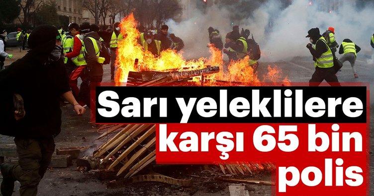 Sarı yeleklilere karşı 65 bin polis