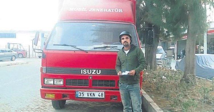 Kamyon şoförüne kask cezası kesildi