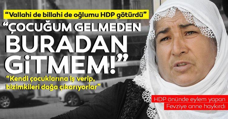 HDP önünde dağa kaçırılan oğlunu isteyen Fevziye anne: Vallahi oğlumu HDP götürdü