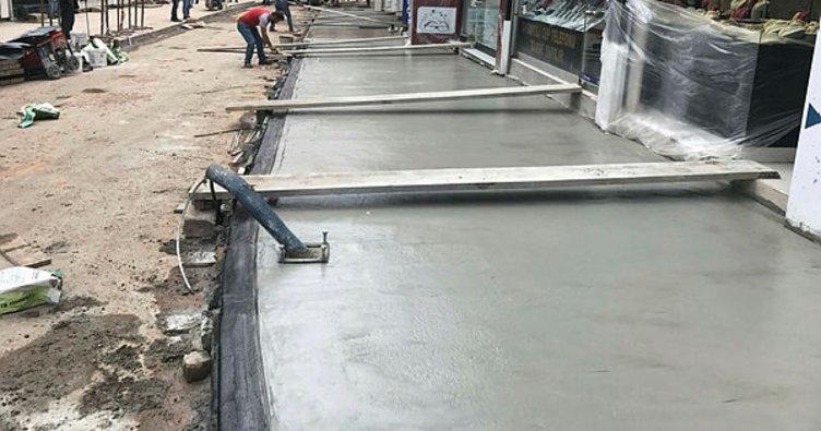 Fatsa'da baskı beton kaldırım çalışması