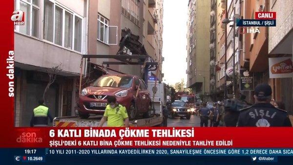 Son dakika: İstanbul'da 6 katlı bir binada çökme tehlikesi   Video