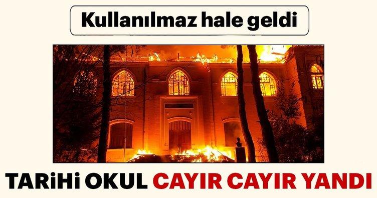Denizli'de tarihi okuldaki yangın