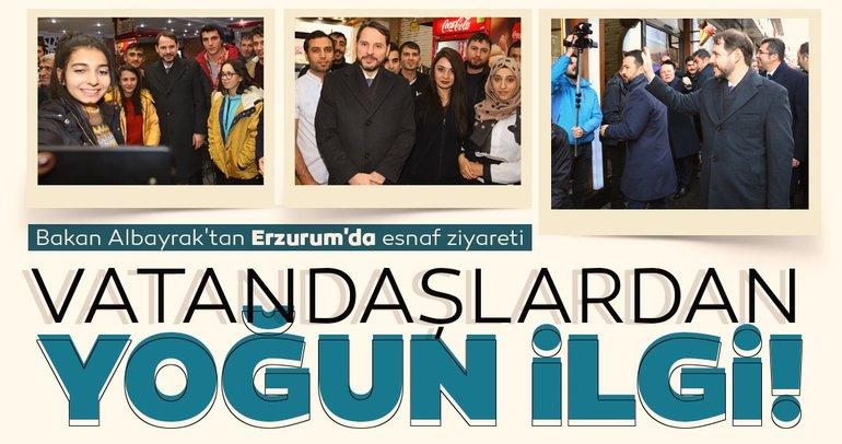 Bakan Albayrak'tan Erzurum'da esnaf ziyareti! Vatandaşlardan yoğun ilgi