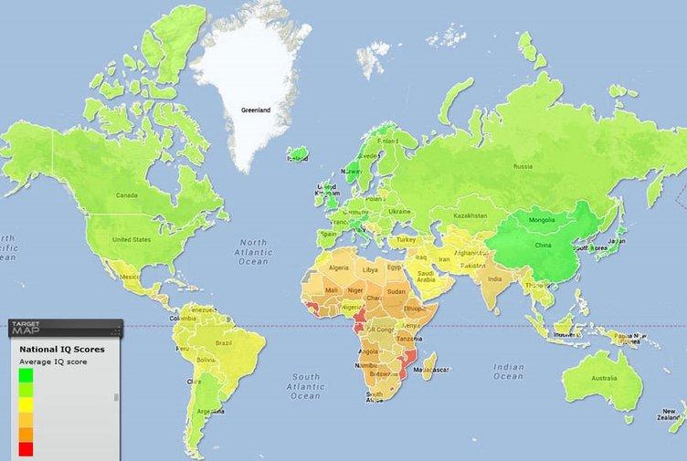 Ülkelere göre IQ seviyesi!