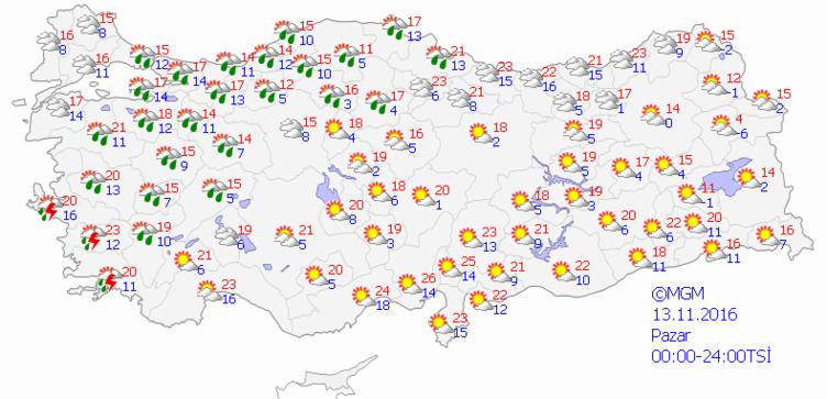 Yurtta 5 günlük hava durumu (13.11.2016)