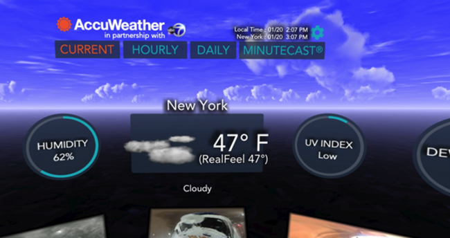 AccuWeather'a Samsung Gear VR desteği!