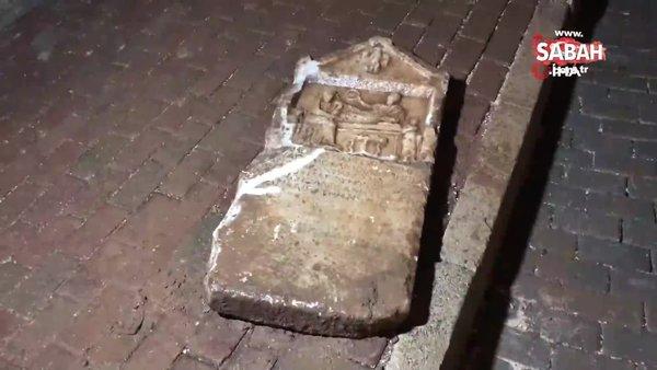 İnşaat çalışmasını balkondan izleyen vatandaşın dikkatiyle tarihi mezar steli bulundu | Video