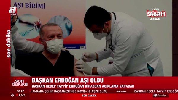 Son dakika haberi: Başkan Erdoğan Ankara Şehir Hastanesi'nde corona virüsü aşısı yaptırdı! İşte ilk paylaşım... | Video