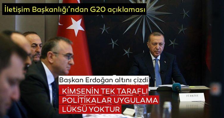 İletişim Başkanı Altun'dan G20 açıklaması: Başkan Erdoğan altını çizdi!