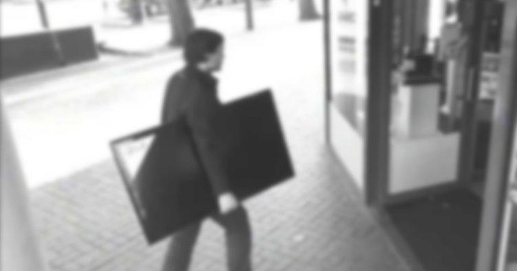 Pişkin hırsızlar çaldıkları televizyon için esnaftan yardım aldı