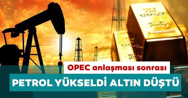 OPEC anlaşması sonrası petrol yükselirken altın fiyatları düştü