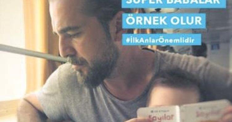 Oğluyla birlikte Süper Babalar kampanyasına destek oldu