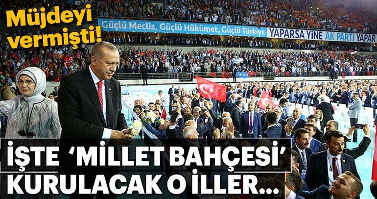İşte Cumhurbaşkanı Erdoğan'ın talimatıyla Millet Bahçesi kurulacak iller
