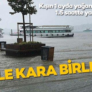 Kışın 1 ayda yağan yağmur 1,5 saatte yağdı! Üsküdar'da denizle kara birleşti.