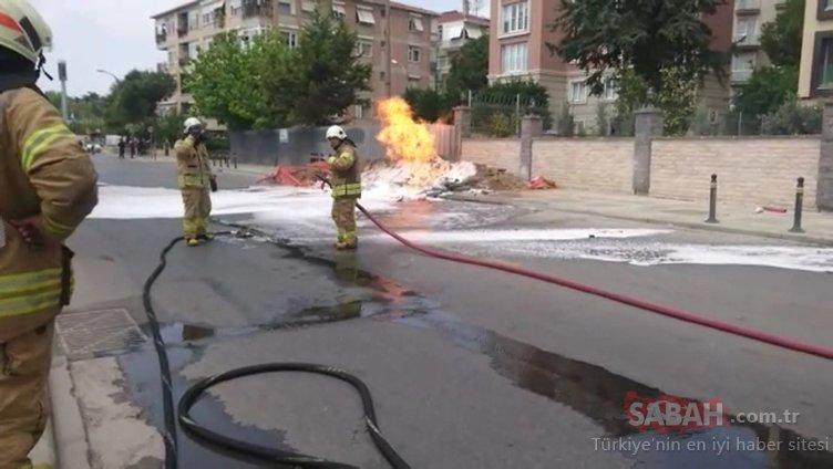 Pendik'te doğalgaz borusu patladı, alevler metrelerce yükseldi