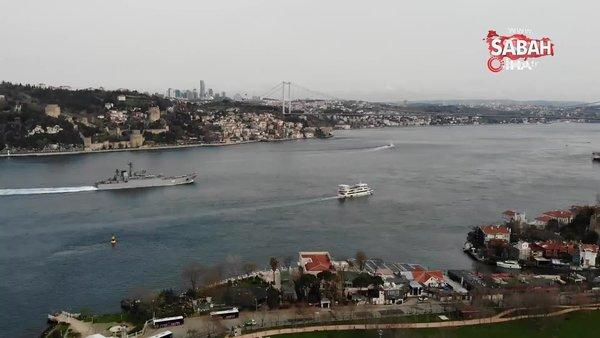İstanbul Boğazı'ndan geçen Rus savaş gemileri kamerada