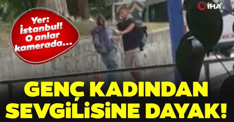 Yer: İstanbul! Turist kadın, sevgilisini sokak ortasında dövdü