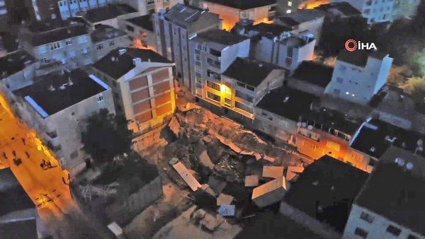 İstanbul Esenler'de çöken istinat duvarının son hali havadan görüntülendi | Video
