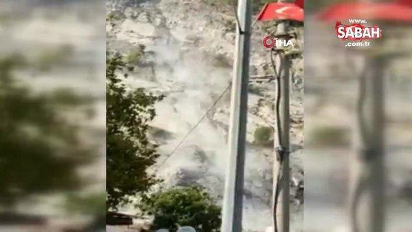 Söke'de deprem sonrası taş ocağından kopan kaya parçaları böyle yuvarlandı | Video